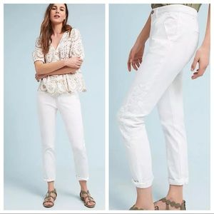 Anthropologie Relaxed Embroidered Chino Pants NWT